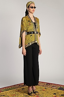 Yellow Embroidered & Printed Cape by Shivan & Narresh