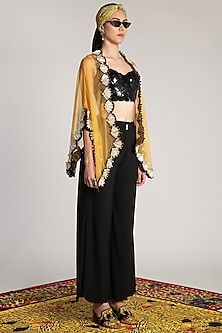 Yellow Embroidered Sheer Cape by Shivan & Narresh