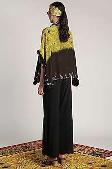Yellow Printed & Embroidered Ombre Cape by Shivan & Narresh