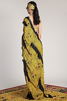 Yellow Printed Ruffled Saree by Shivan & Narresh