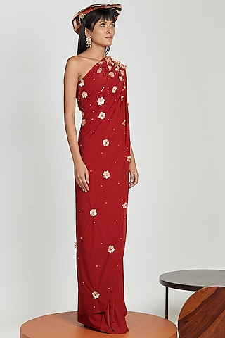 Ruby Red Silk Organza Pre-Stitched Saree Set by Shivan & Narresh