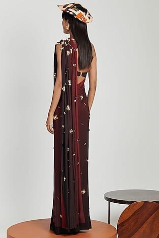 Carmine Ombre Pre-Stitched Saree Set by Shivan & Narresh