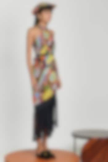 Multi Colored Printed Beach Dress With Fringes by Shivan & Narresh