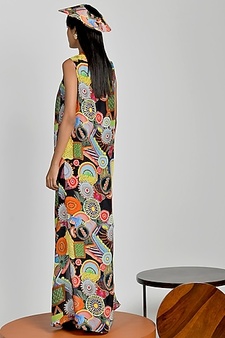 Multi Colored Crepe Printed Robe by Shivan & Narresh