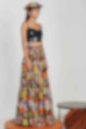 Multi Colored Draped Maxi Skirt by Shivan & Narresh