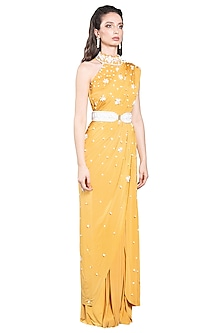 Yellow Skein Pre-Stitched Saree by Shivan & Narresh