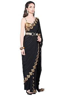 Black Skein Pre-Stitched Saree by Shivan & Narresh