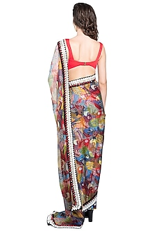 Multi Colored Skein Sheer Pre-Stitched Saree by Shivan & Narresh