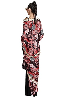 Multi Colored Skein Bordered Pre-Stitched Saree by Shivan & Narresh
