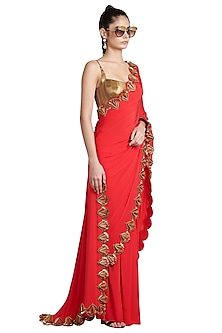 Red Metallic Resin Pre-Stitched Saree by Shivan & Narresh