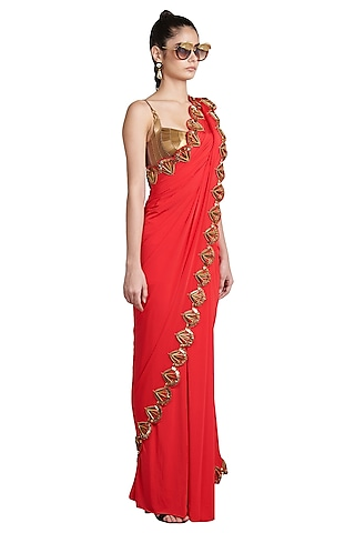 Red Metallic Resin Pre-Stitched Saree by Shivan & Narresh
