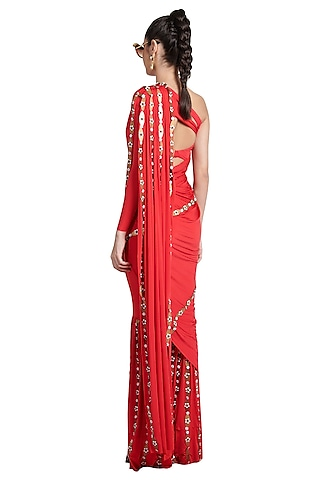 Red Metallic Resin Pant Saree by Shivan & Narresh