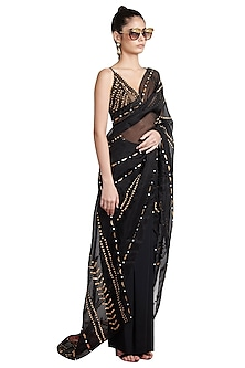 Black Skein Sheer Pre-Stitched Saree by Shivan & Narresh