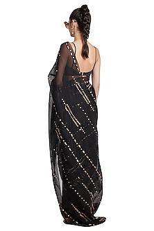 Black Skein Sheer Pre-Stitched Saree by Shivan & Narresh