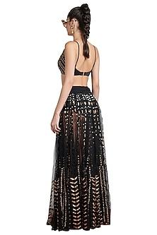 Black Skein Sheer Lehenga Skirt by Shivan & Narresh