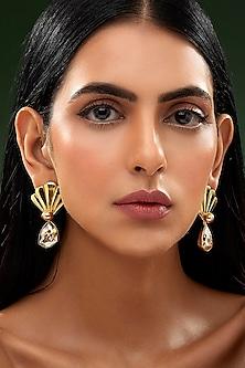 Gold Finish Flaring Fruit Earrings by Shivan & Narresh X Swarovski