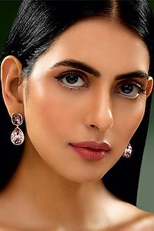 Gold Finish Poppy Rose Earrings by Shivan & Narresh X Swarovski