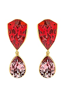 Gold Finish Chester Fall Earrings With Swarovski Crystals by Shivan & Narresh X Confluence-SHOP BY STYLE