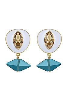 Gold Finish Pico Bianco Earrings by Shivan & Narresh X Swarovski