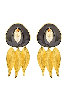 Gold Finish Eden Pico Earrings With Swarovski Crystals by Shivan & Narresh X Confluence-SHOP BY STYLE