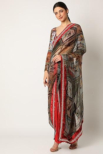 Red Skeinwork Saree by Shivan & Narresh