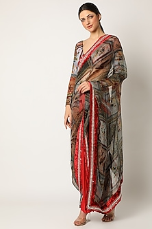Red Skeinwork Saree by Shivan & Narresh