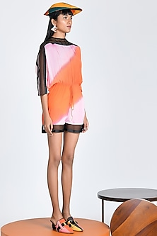 Tangerine & Hibiscus Ombre Playsuit by Shivan & Narresh