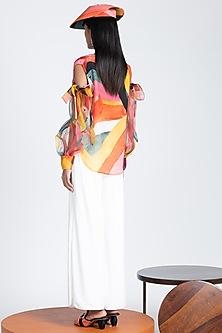 Ivory Diamond Weave Jersey Trousers by Shivan & Narresh