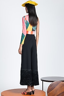 Multi Colored One Shoulder Jumpsuit With Fringes by Shivan & Narresh