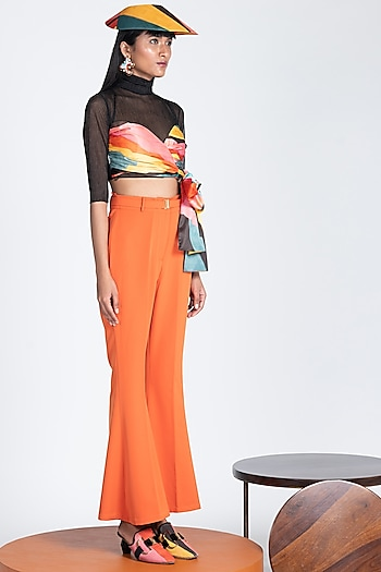 Tangerine Trousers With Flared Hem by Shivan & Narresh