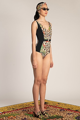 Multi Colored Printed & Belted Maillot by Shivan & Narresh