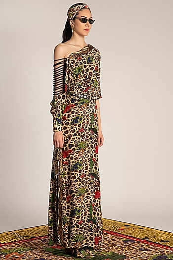 Multi Colored Skein Work Printed Gown by Shivan & Narresh