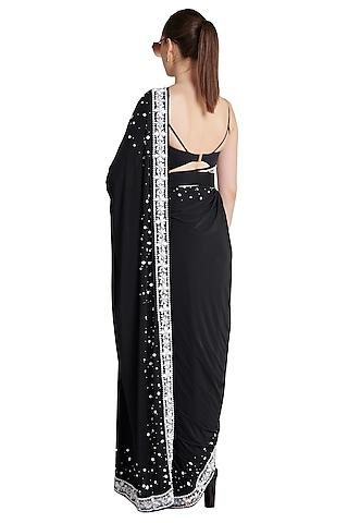 Black Printed Skein Pre-Stitched Saree by Shivan & Narresh