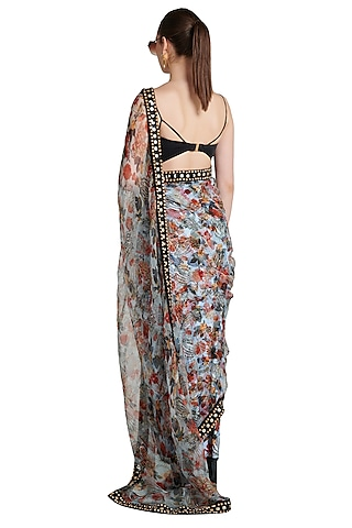 Multi Colored Printed Skein Sheer Pre-Stitched Saree by Shivan & Narresh