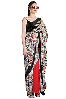 Multi Colored Printed Metallic Skein Pre-Stitched Saree by Shivan & Narresh-Shop By Style