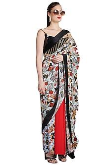 Multi Colored Printed Metallic Skein Pre-Stitched Saree by Shivan & Narresh