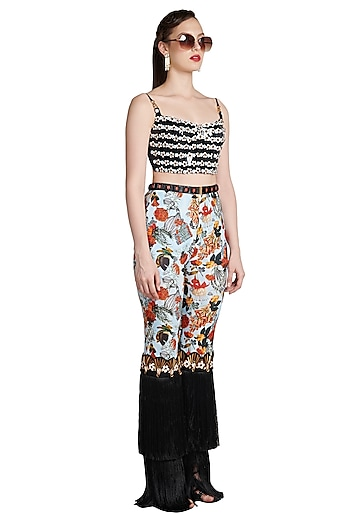 Black Printed Skein Bustier by Shivan & Narresh