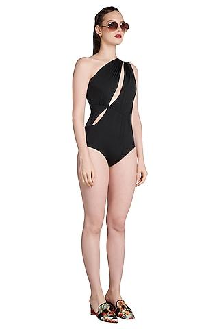 Black One Shoulder Draped Maillot Swimsuit by Shivan & Narresh