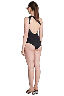 Black One Shoulder Draped Maillot Swimsuit by Shivan & Narresh
