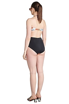 Black Printed Coal Bandeau Maillot Swimsuit by Shivan & Narresh