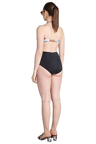 Black Printed Coal Bandeau Maillot Swimsuit by Shivan & Narresh