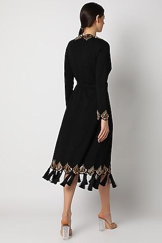 Black Resin Skeinwork Dress by Shivan & Narresh