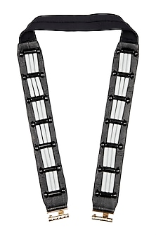 Black Resin Skein Leather Belt by Shivan & Narresh