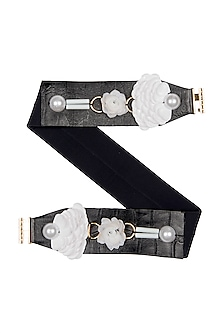 Black Metallic Trim Belt by Shivan & Narresh