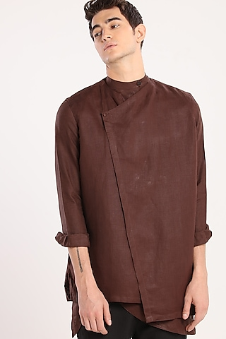 Dark Brown Angrakha Jacket by Son Of A Noble SNOB