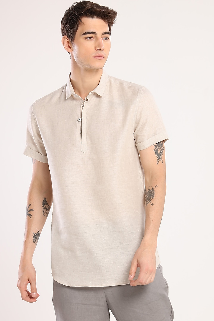 Light Grey Shirt With Collar by Son Of A Noble SNOB