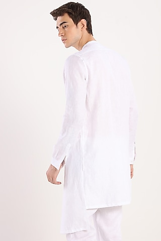 White Kurta With Fastening by Son Of A Noble SNOB