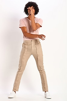 Beige Front Pleated Trousers by Son Of A Noble SNOB