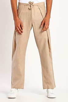 Beige Linen Trousers With Tie-Up by Son Of A Noble SNOB