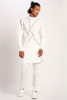 White Kurta With Contrast Piping by Son Of A Noble SNOB